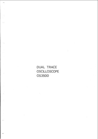 Advance OS3500 (OS-3500) Oscilloscope Instructions covers Service Schematics and User Operating
