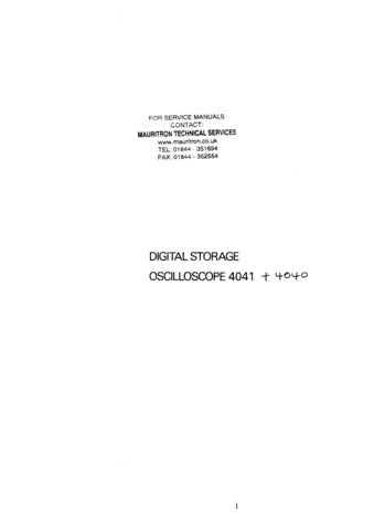 Advance OS4040 (OS-4040) Oscilloscope Instructions covers Service Schematics and User Operating