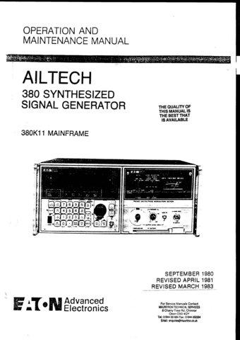 Ailtech 380K11 Mainframe Instructions Schematics etc