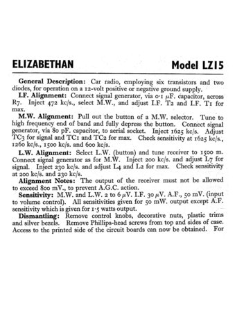Elizabethan LZ15 (LZ-15) Car Radio Service Sheets Schematics Set