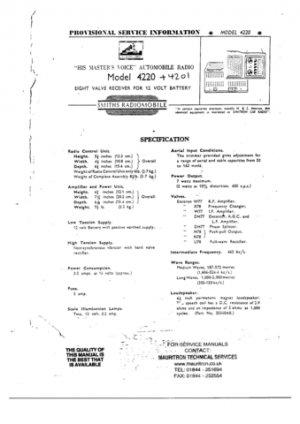 Emitron 4201 Car Radio Workshop Service Manual with Schematics