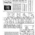 English Electric 16T11D TV Service Sheets Schematics Set