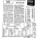 Etronic ETA5316 (ETA-5316) Wireless Service Sheets Schematics Set