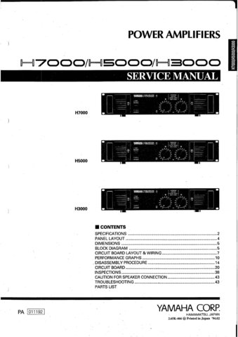 Yamaha H5000 (H-5000) Power Amplifier Service Manual