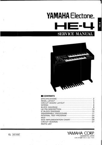 Yamaha HE4 (HE-4) Electone Keyboard Service Manual