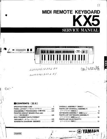 Yamaha KX5 (KX-5) Keyboard Service Manual
