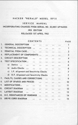 Hacker RP10 Herald Service Manual Schematics