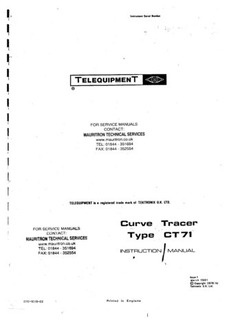 Telequipment CT71 (CT-71) Curve Tracer Instructions covers Service Schematics etc and Operating
