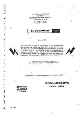Telequipment D63 (D-63) Oscilloscope Instructions covers Service Schematics etc and Operating