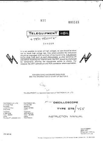 Telequipment D755 (D-755) Oscilloscope Instructions covers Service Schematics etc and Operating