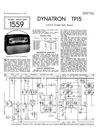 Dynatron Commodore TP15 (TP-15) Radio Service Sheet Schematics Set