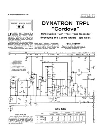 Dynatron Cordova TRP1 (TRP-1) Tape Recorder Service Sheet Schematics Set