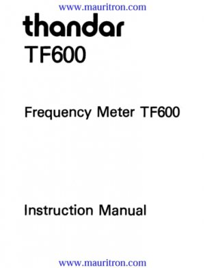 Thandar TF600 (TF-600) Frequency Meter Operating User Guide