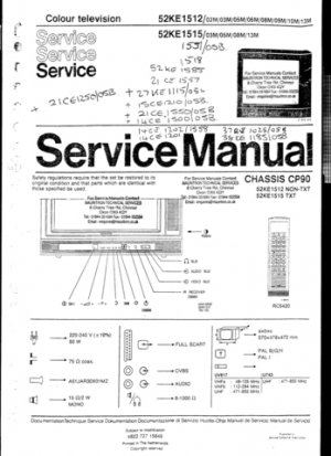 Philips 52KE1585 Television Service Manual