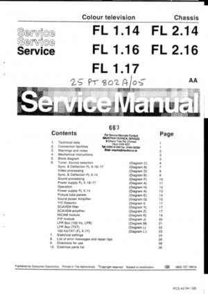 Philips FL2.16 Chassis Television Service Manual