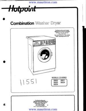 Hotpoint 9920 Washing Machine Workshop Service Manual