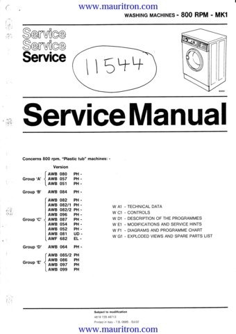 Hitachi Washing machine service manuals