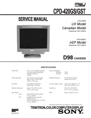 Sony CDP420GST (CDP-420GST) Monitor Service Manual