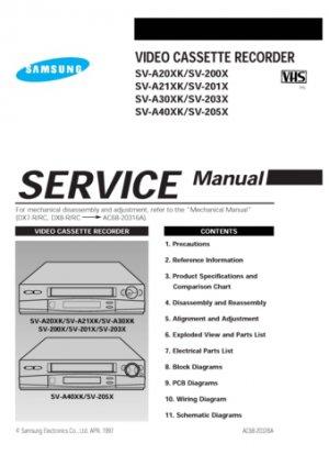 Samsung SV-200X Video Recorder Service Manual