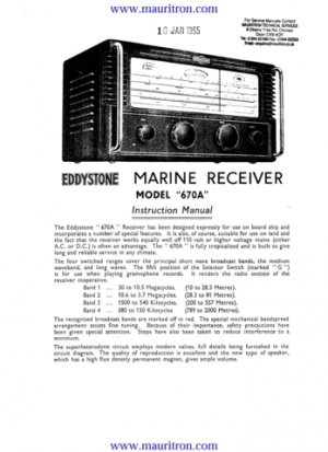 Eddystone 670A Receiver Combined Service Shcematics etc and Operating Guide
