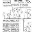 Ferranti T1001 (T-1001) Television Service Sheets Schematics Set