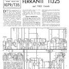 Ferranti T1325 (T-1325) Television Service Sheets Schematics Set