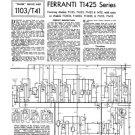 Ferranti T1425 (T-1425) Television Service Sheets Schematics Set