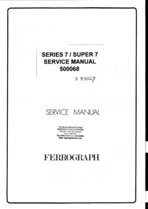 Ferrograph 722H Tape Recorder Service Manual