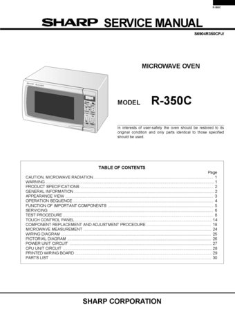 sharp r7h52 r 7h52 microwave oven service manual rh ecrater com Sharp Microwave Timer Sharp Microwave Thermal Fuse