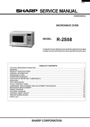 Sharp R8580 (R-8580) Microwave Oven Service Manual