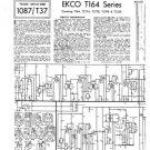 Ekco T164 (T-164) Television Service Sheets Schematics etc