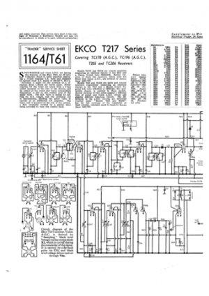 Ekco T205 (T-205) Television (2) Service Sheets Schematics etc