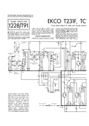 Ekco T221F (T-221F) Television Service Sheets Schematics etc