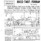 Ekco T409 (T-409) Television Service Sheets Schematics etc
