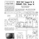 Ekco T441 (T-441) Compact 16 Television Service Sheets Schematics etc