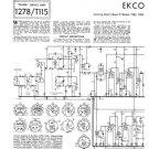 Ekco TC209-1 (TC-209-1) Television Service Sheets Schematics etc