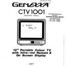 Genexxa CTV1001 (CTV-1001) Television Operating Guide