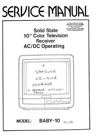 Genexxa Voyager Television Service Manual