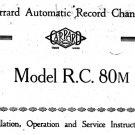 Garrard RC80M (RC-80M) Turntable Technical Repair Service Information etc