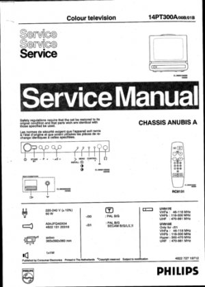 Philips 14PT300A 00B 01B Technical Repair Schematics Circuits Service Manual