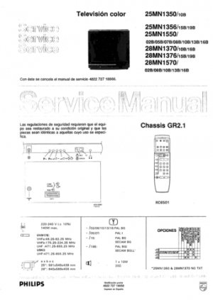 Philips 25MN1550 02B 05B 07B 08B 10B 13B 16B Technical Repair Schematics Circuits Service Manual