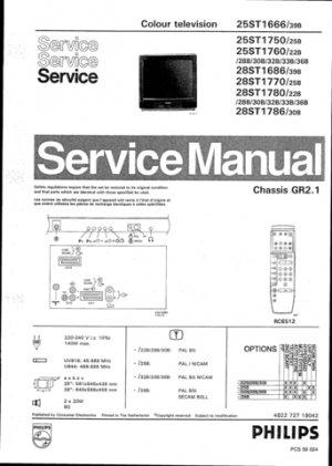 Philips 25ST1760 22B 28BG 30B 32B 33B 36B Technical Repair Schematics Circuits Service Manual