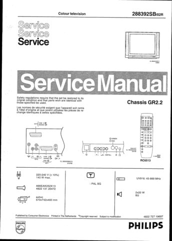 Philips 288392SB 02R Technical Repair Schematics Circuits Service Manual