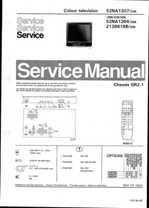 Philips 52NA1307 23B 28B 33B 36B Technical Repair Schematics Circuits Service Manual