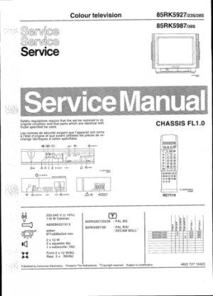 Philips 85RK5987 38S Technical Repair Schematics Circuits Service Manual