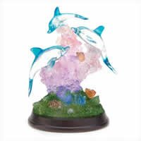 Dolphins on Wood Base with LED Lights 38031