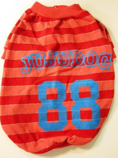 Dog Shirt, Dog clothes, Pet Apparel - JUJU Dog shirt with silver stripes (Red) -  S , M
