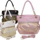 Rhinestone Croc. Gold Print Handbag Designer Inspired Purse Black Pink White