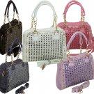Rhinestone Stud Croc. Skin Print Handbag Ladies Designer Inspired Purse