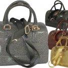 Ladies Designer Inspired Shiny Jelly Glitter Handbag Purse Bronze Pewter Gold